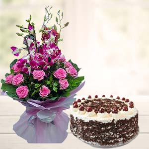 Orchids With Black Forest Cake: Gift Kal Khedi,  Bhopal