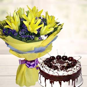 Yellow Lilies With Vanila Cake: Retirement  Bhopal