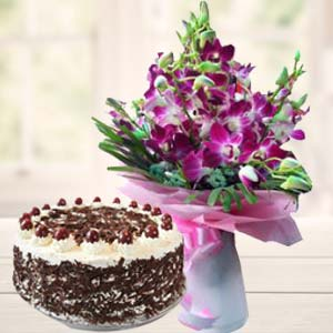 Purple Orchids With Black Forest Cake: Congratulations  Bhopal
