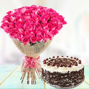 Pink Roses With Black Forest Cake: Mothers day Chichli,  Bhopal