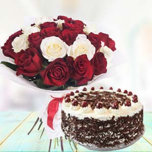 Mix Roses With Black Forest Cake: Gift Idgah Hills,  Bhopal