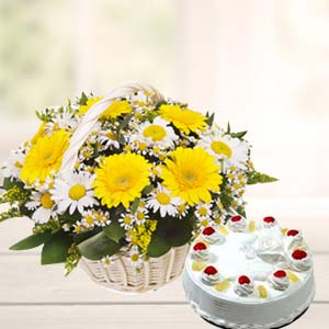 Mix Gerbera Basket With Pineapple Cake: Gift Gopal Nagar,  Bhopal