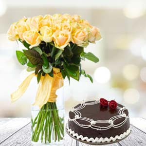 Yellow Roses With Rich Chocolate Cake: Gift Barkheda Nathu,  Bhopal