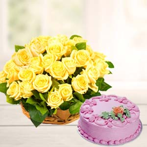 Strawberry Cake With Yellow Roses: Mothers day Bda Colony,  Bhopal