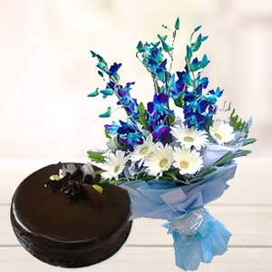 Blue Orchids With Chocolate Cake: Birthday-flowers-&-cake  Bhopal