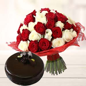 Roses With Dark Chocolate Cake: Gift Lalghati,  Bhopal