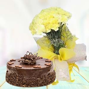 Yellow Carnations With Chocolate Cake: Gift For Friends Kohefiza,  Bhopal