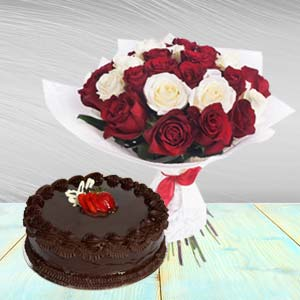 Roses Arrangement With Chocolate Cake: Valentine Gifts For Husband Imliya,  Bhopal