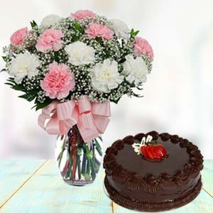 Mix Carnations With Chocolate Cake: Gifts For Brother Kolar Rd,  Bhopal