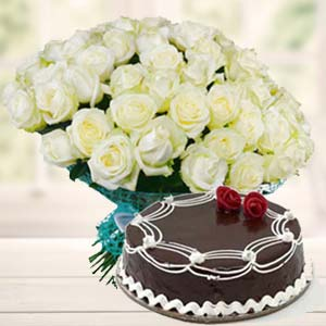 White Roses With Rich Chocolate Cake: Gifts For Him  Bhopal