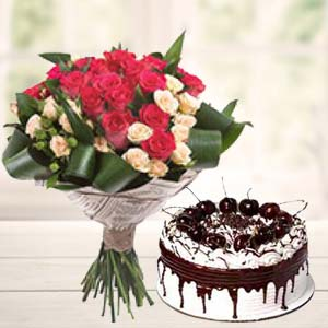 Roses Bunch With Vanila Cake: Gifts For Sister Kolua Kalan,  Bhopal
