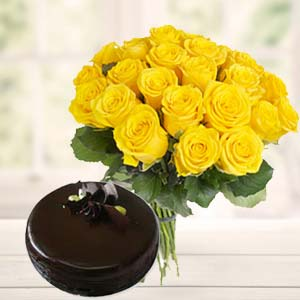 Yellow Roses With Dark Chocolate Cake: Gifts For Boyfriend Imliya,  Bhopal