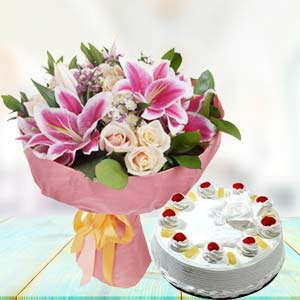 White Roses With Pink Lilies Combos: Gift For Friends Data Colony,  Bhopal