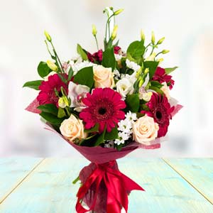 Mix Roses & Gerbera Flowers: Valentine Gifts For Husband Baskheda,  Bhopal