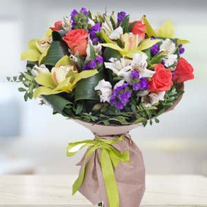 Mix Flowers With Green Fillers: Gifts For Wife Kal Khedi,  Bhopal