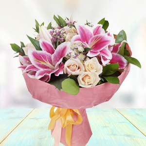 Bunch Of Lilies With White Roses: Gifts For Her Meerpur,  Bhopal
