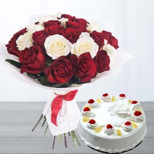 Roses With Pineapple Cake: Gift For Friends Bairagarh,  Bhopal