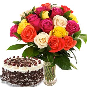 Roses With Black Forest Cake: Gift Idgah Hills,  Bhopal