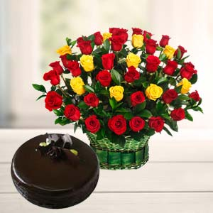 Roses With Dark Chocolate Cake: Gifts For Brother Jahangirabad,  Bhopal