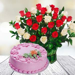 Roses With Strawberry Cake: Gifts For Boyfriend Kokta,  Bhopal