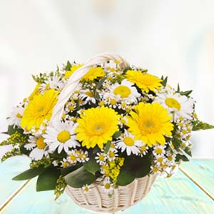 Basket Of Yellow Gerbera: Gift For Friends Data Colony,  Bhopal