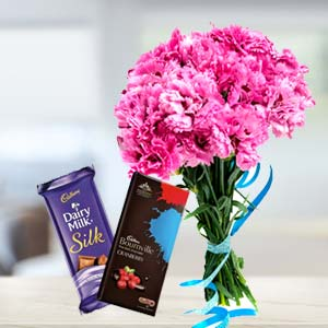 Carnations With Chocolates: Gifts For Her Ayodha Bypass,  Bhopal