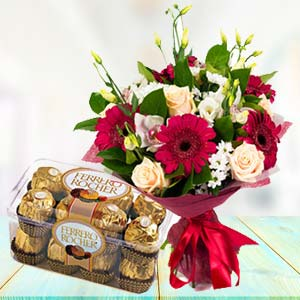 Mix Flowers With Ferrero Rocher Pack: Gift For Friends Nishatpur,  Bhopal