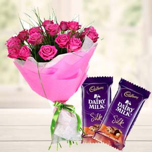 Pink Roses With Dairy Silk Chocolates: Gifts For Boyfriend Kokta,  Bhopal