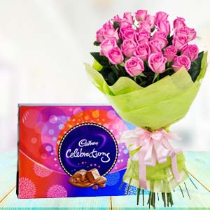 Pink Roses With Celebration Pack: Gift For Friends Kal Khedi,  Bhopal