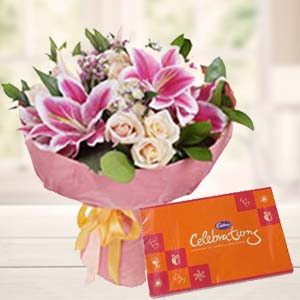 Lilies With Celebration Pack: Gift Chuna Bhatti,  Bhopal