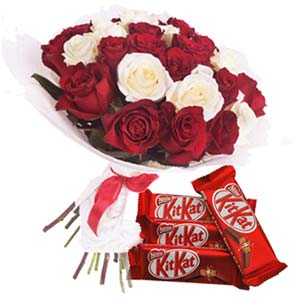 Roses With KitKat Chocolates: Gifts For Sister Arhedi,  Bhopal