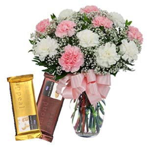 Mix Carnations With Chocolates: Gifts For Him Kahna Sayiya,  Bhopal