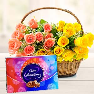 Roses Basket With Celebration Pack: Gift Bda Colony,  Bhopal