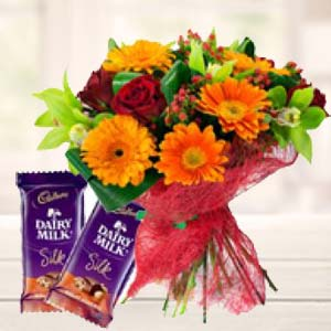 Mix Flowers With Chocolates: Gift For Friends Chichli,  Bhopal