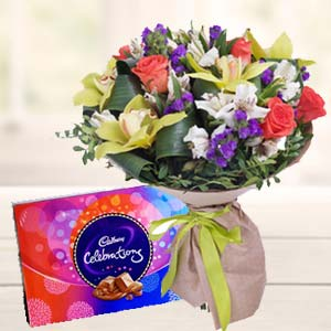 Mix Flowers With Celebrations Pack: Gifts For Wife Krishna Nagar,  Bhopal