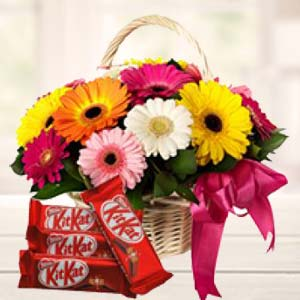 Gerbera Basket With KitKat Chocolates: Gift Maksi,  Bhopal