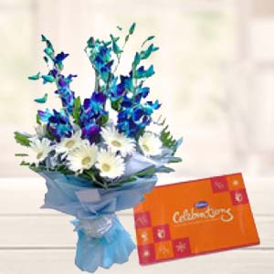 Blue Orchids With Celebrations Pack: Gifts For Sister Ayodha Bypass,  Bhopal