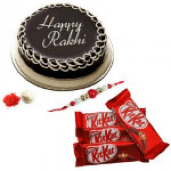 Rakhi With Kit Kat And Cake: Rakhi Karond,  Bhopal