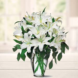 White Lillies In A Vase: Gifts Navi Bhag,  Bhopal