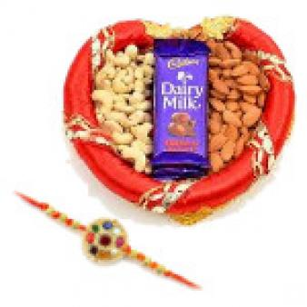Dry Fruits Thali With Rakhi: Rakhi  Bhopal