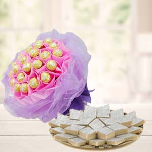 Ferrero Rocher Bouquet With Sweets: Gift Kalyan Pur,  Bhopal