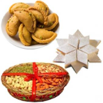 Dry Fruits With Sweets Combo: Gift Meerpur,  Bhopal