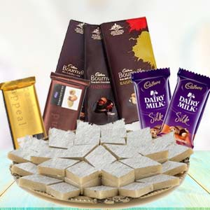 Sweets Combo With Assorted Chocolates: Gifts For Sister Kolua Kalan,  Bhopal