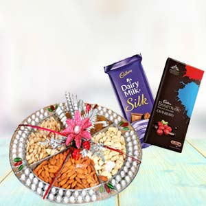 Dry Fruits Thali With Chocolates: Gifts For Sister Janki Nagar,  Bhopal