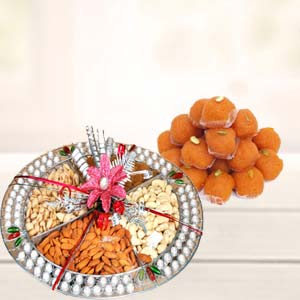Dry Fruits Thali With Motichoor Laddoo: Gifts For Brother  Bhopal