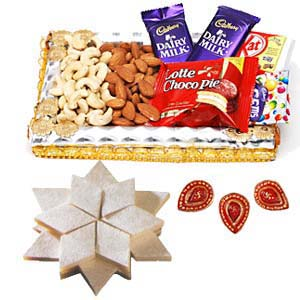 Dry Fruits Combo Thali With Sweets: Rakhi Baskheda,  Bhopal