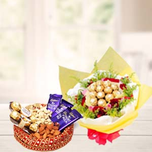 Special Dry Fruits Thali With Chocolates: Gift Bagmugalia,  Bhopal
