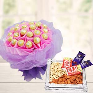 Ferrero Rocher Bunch With Combo Thali: Gift Meerpur,  Bhopal