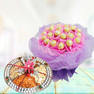 Ferrero Rocher With Dry Fruits Thali: Mothers-day-gift-baskets  Bhopal