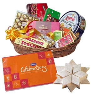 Assorted Chocolates Basket With Kaju Katli: Gifts For Brother Kokta,  Bhopal